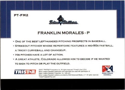 2007 FRANKLIN MORALES TriStar Prospects Plus Rookie PROTENTIAL RC
