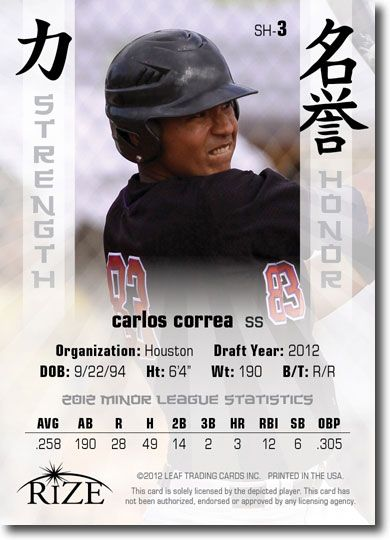 CARLOS CORREA 2012 Rize Rookie Inaugural Edition STRENGTH & HONOR RC (QTY)