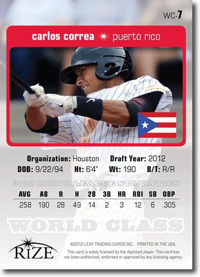 10-Count Lot CARLOS CORREA 2012 Rize Draft Rookie WORLD CLASS RCs