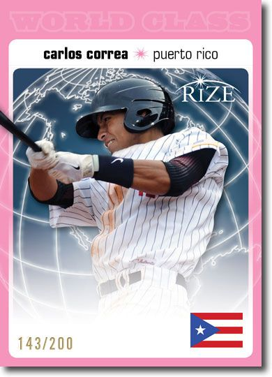 CARLOS CORREA 2012 Rize Rookie PINK Paragon WORLD CLASS RC #/200