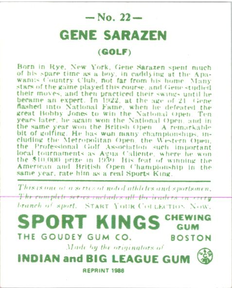 (10) GENE SARAZEN 1933 Goudey Sport Kings Gum Golf Card #22 Reprints