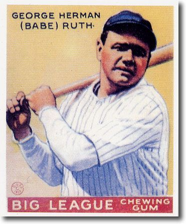 (25) BABE RUTH 1933 Goudey Yellow Card #53 Reprints YANKEES