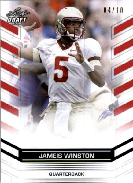 JAMEIS WINSTON #2 2015 Leaf NFL Draft Rookie RED Football RC #/10