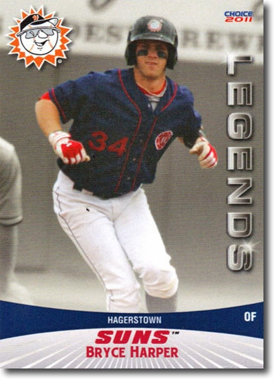 BRYCE HARPER 2011 Pro Debut Hagerstown Suns Legends Rare Rookie #06 NATIONALS