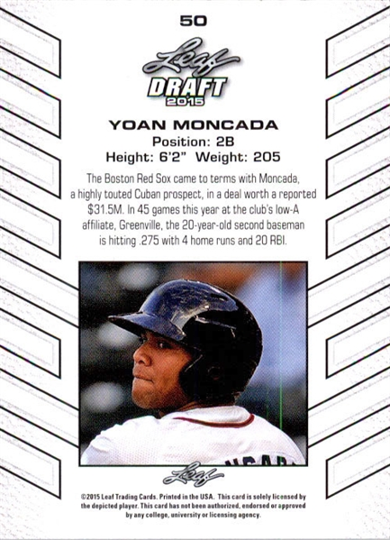 25-Count Lot YOAN MONCADA 2015 Leaf Draft Baseball Rookies