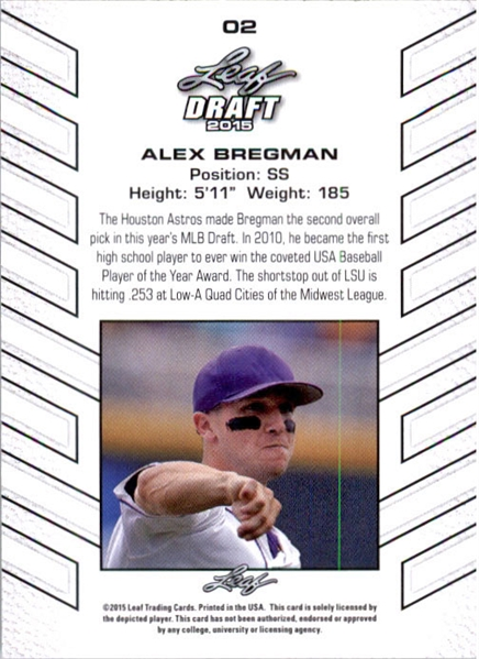 ALEX BREGMAN 2015 Leaf Draft Baseball RED REFRACTOR Rookie Card #/5