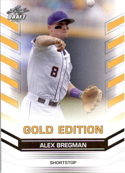 50-Count Lot ALEX BREGMAN 2015 Leaf Draft Baseball GOLD Rookies