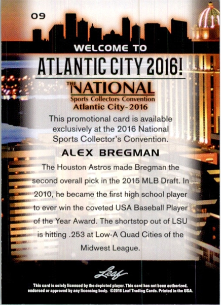 5-Ct Lot ALEX BREGMAN 2016 Leaf NSCC Booth Exclusive WHITE Rookie Cards